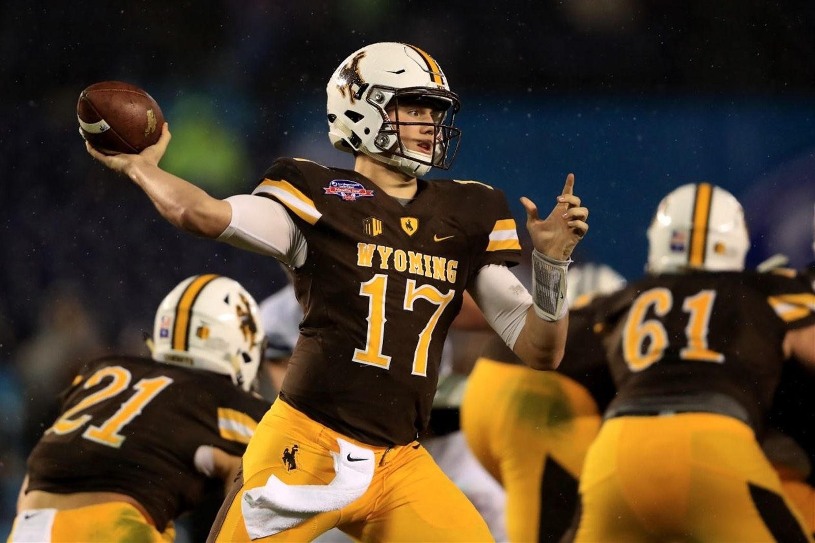 1. Cleveland Browns. Josh Allen, QB, Wyoming. In most years, the No. 1 overall pick is the free spot on the Bingo board. Not this year, though, as Browns General Manager John Dorsey has successfully kept the outside world off the scent of what he's thinking. It's widely assumed Dorsey is going with a quarterback, either Allen or Southern California's Sam Darnold, so we'll use history as a guide to go with Allen, who has the best measurables of the class. That's something Dorsey has valued in the past.