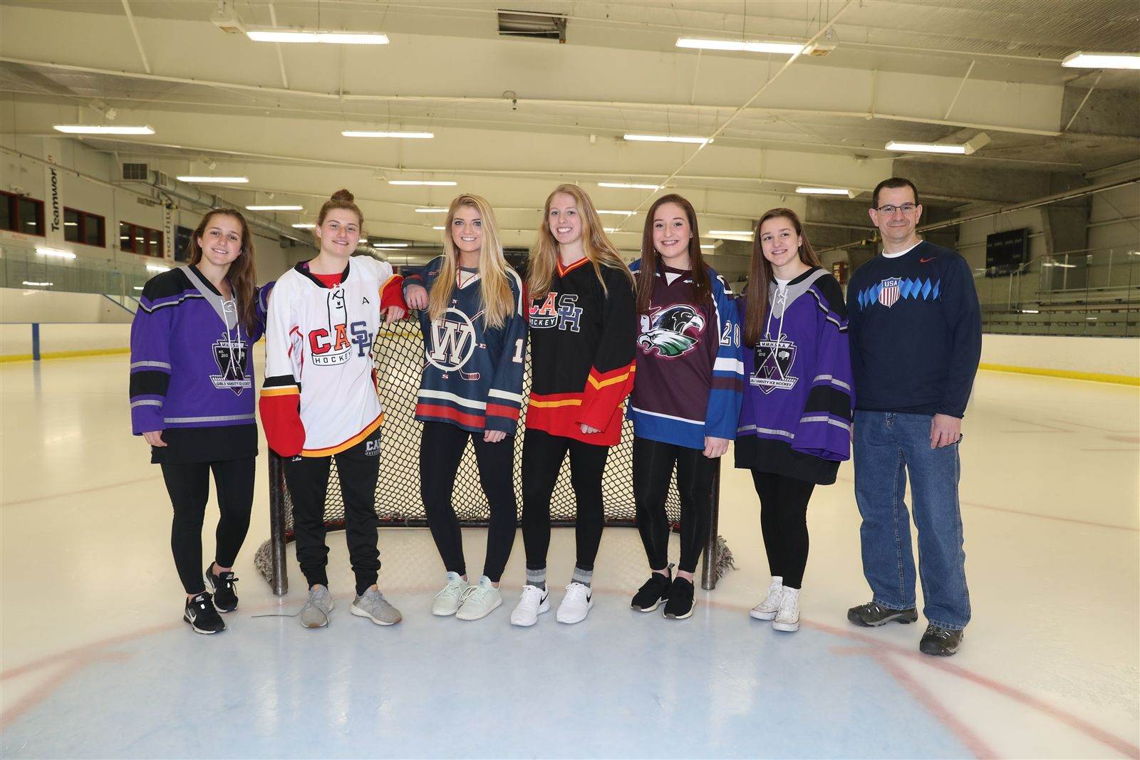 The 2017-18 All-Federation team (left to right): F-Kayla Blas, Monsingor Martin; F-Emma Faso, Amherst/Sweet Home/Clarence; F-Holly Schmelzer, Williamsville; D-Casey Adimey, Amherst/Sweet Home/Clarence; D-Brooke Becker, Frontier/Orchard Park/Lake Shore; G-Grace Harrington, Monsignor Martin; Coach of the Year: Dave Sandoro, Lancaster/Iroquois/Depew.