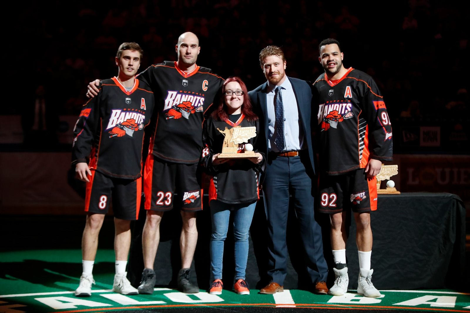 Buffalo Bandits fan of the year Jessica Nowak is honored prior to playing the Rochester Knighthawks at the KeyBank Center on Saturday April 28, 2018.