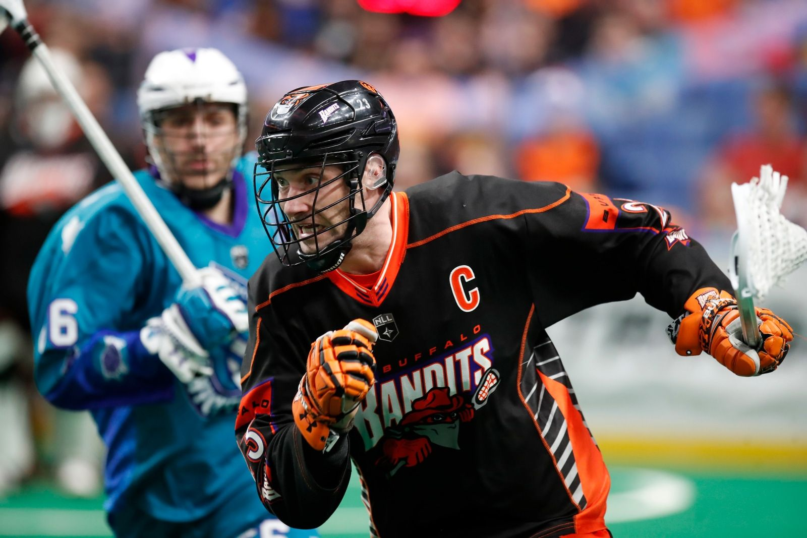 Buffalo Bandits Steve Priolo moves the ball against the Rochester Knighthawks during first half action at the KeyBank Center on Saturday April 28, 2018.