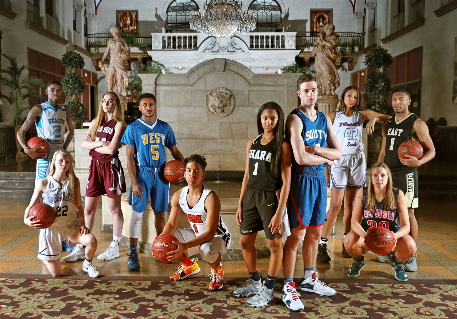 The wraparound cover of the 2018 All-Western New York basketball issue, photographed in the lobby of Statler City by Buffalo News staff photographer James P. McCoy with art direction from News Director of Photography Cathaleen Curtiss.
