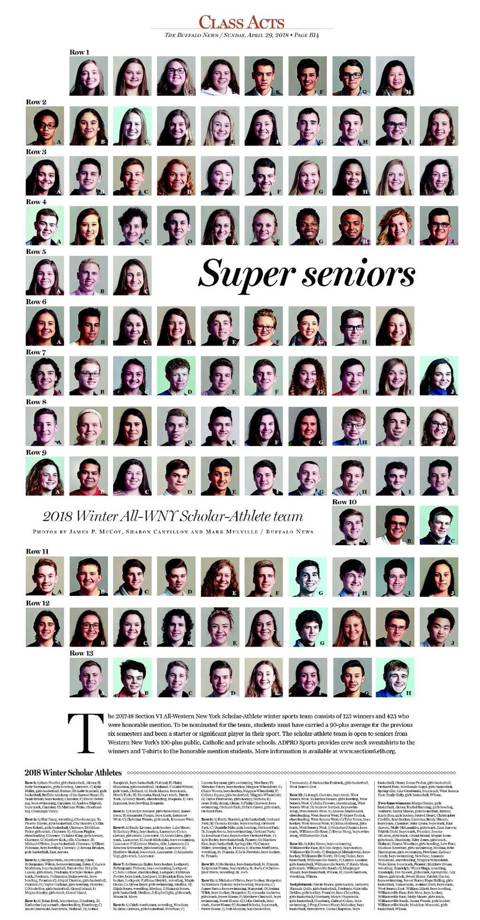 The All-WNY winter scholar-athlete team was featured in a color poster page in the April 29 Sunday sports section. To order a copy of that edition, while supplies last, email backissues@buffnews.com.