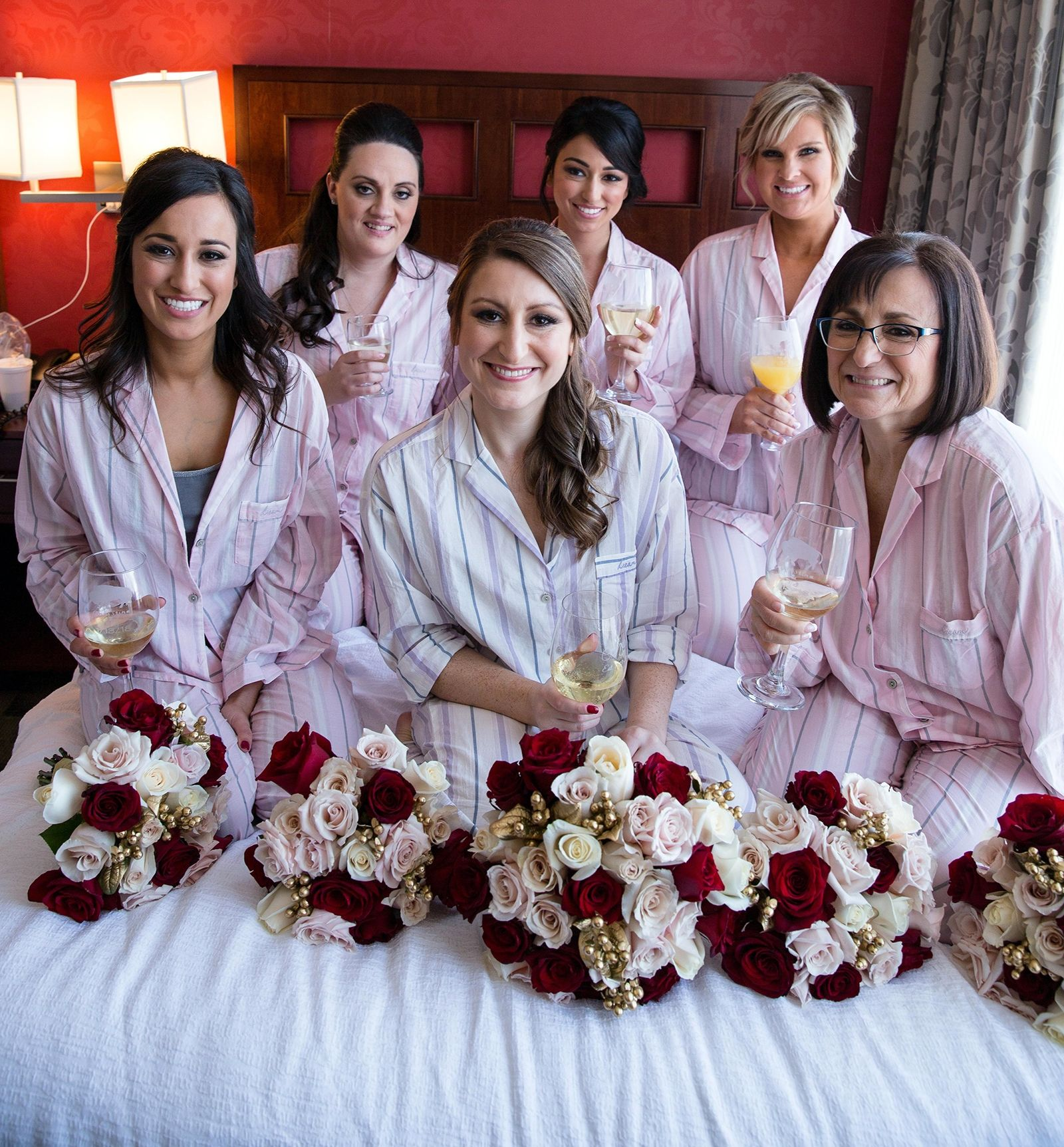 Hair for Christina's bridal party was done by Dante Pimpo of Ciao Bella Hair Studio, with makeup by Allina LaMorticella of Makeup by Allina. From bottom left: Maid of Honor Danielle Fanara; Bride Christina Oakley; Mother of the Bride Fran Warner; Bridesmaids Jamie Miskines, Michelle Fanara and Kim Kraft.