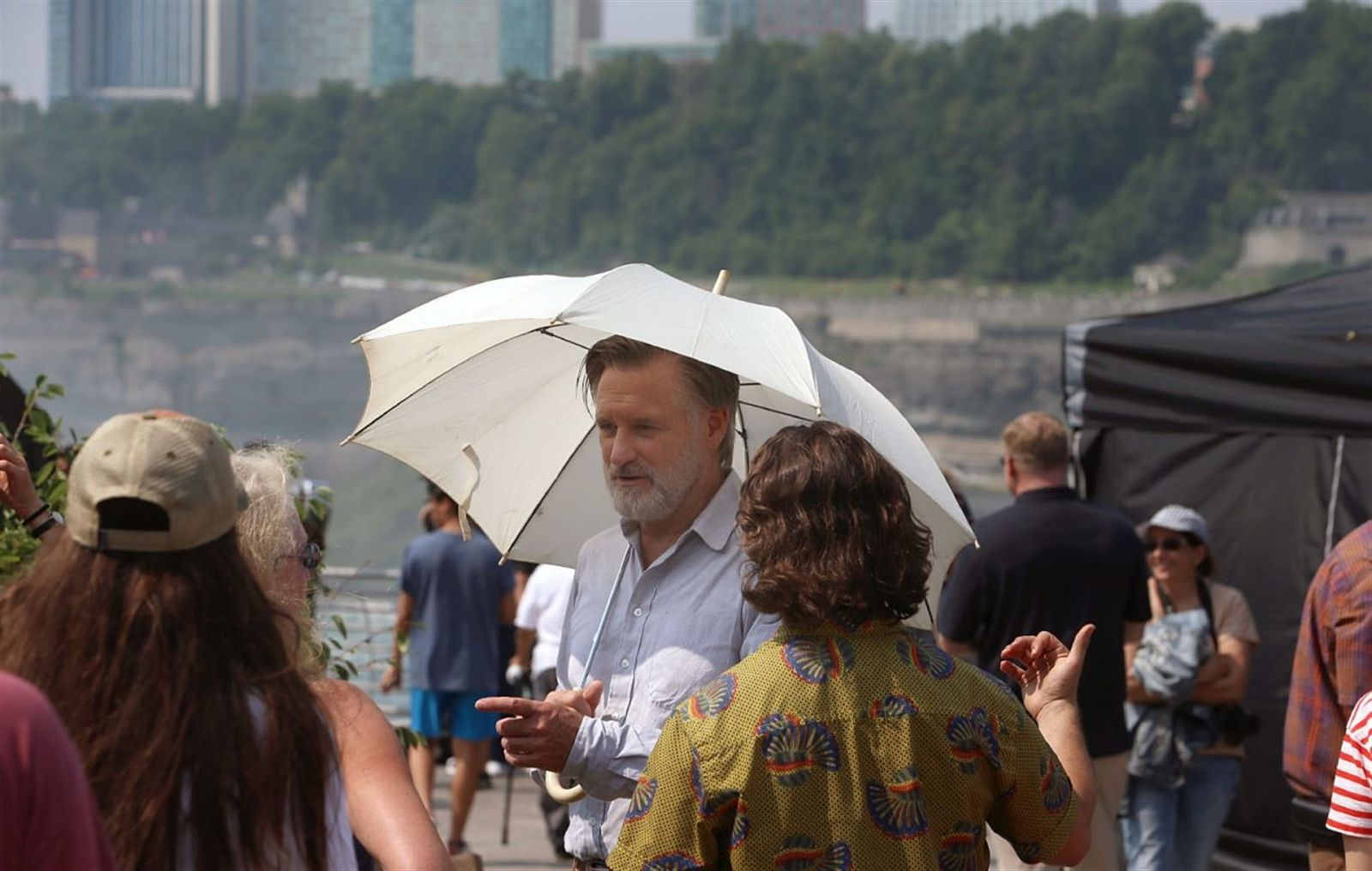 """An episode of the USA series """"The Sinner"""" was being filmed Thursday in Niagara Falls. Here, actor Bill Pullman prepares for a scene on on location in Niagara Falls State Park."""