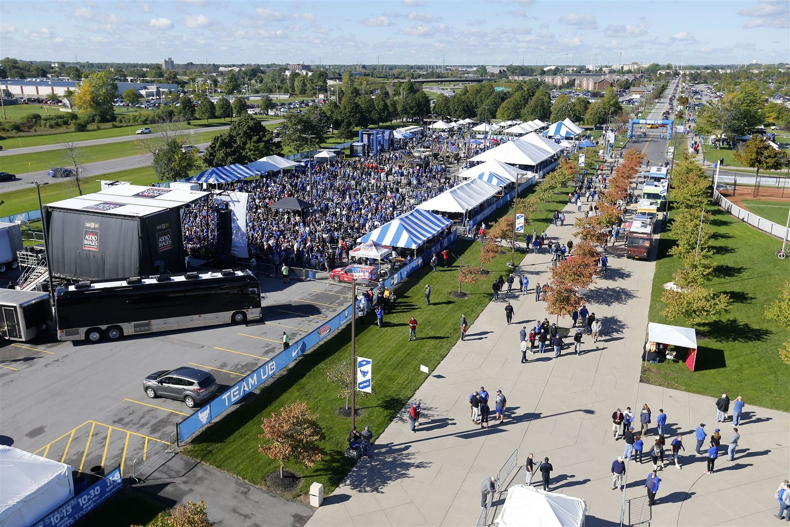 UB fans pack a parking lot for tailgate festivities.
