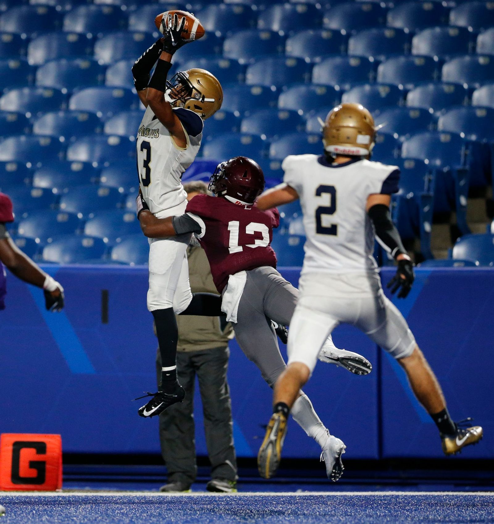 Canisius receiver Jason Martin pulls in a pass for the game-winning touchdown against St. Joe's with seven seconds left in the fourth quarter at New Era Field. Canisius won the game 34-28.