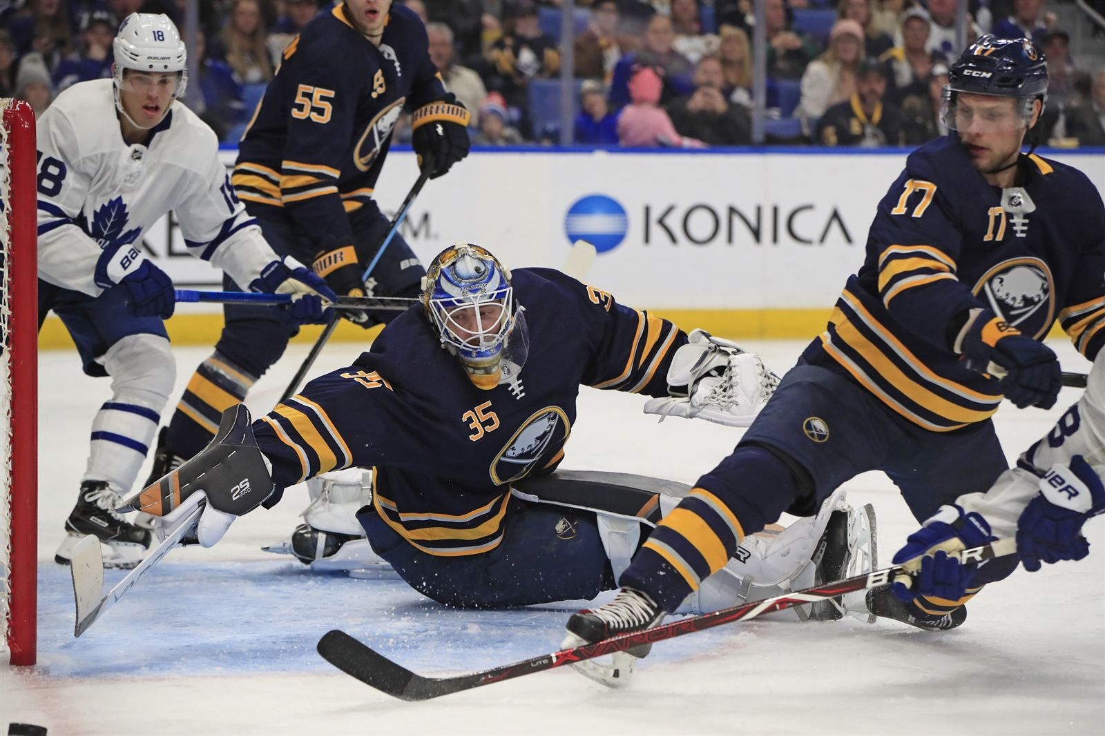 Buffalo Sabres goaltender Linus Ullmark makes a save on the Toronto Maple Leafs during second period action.