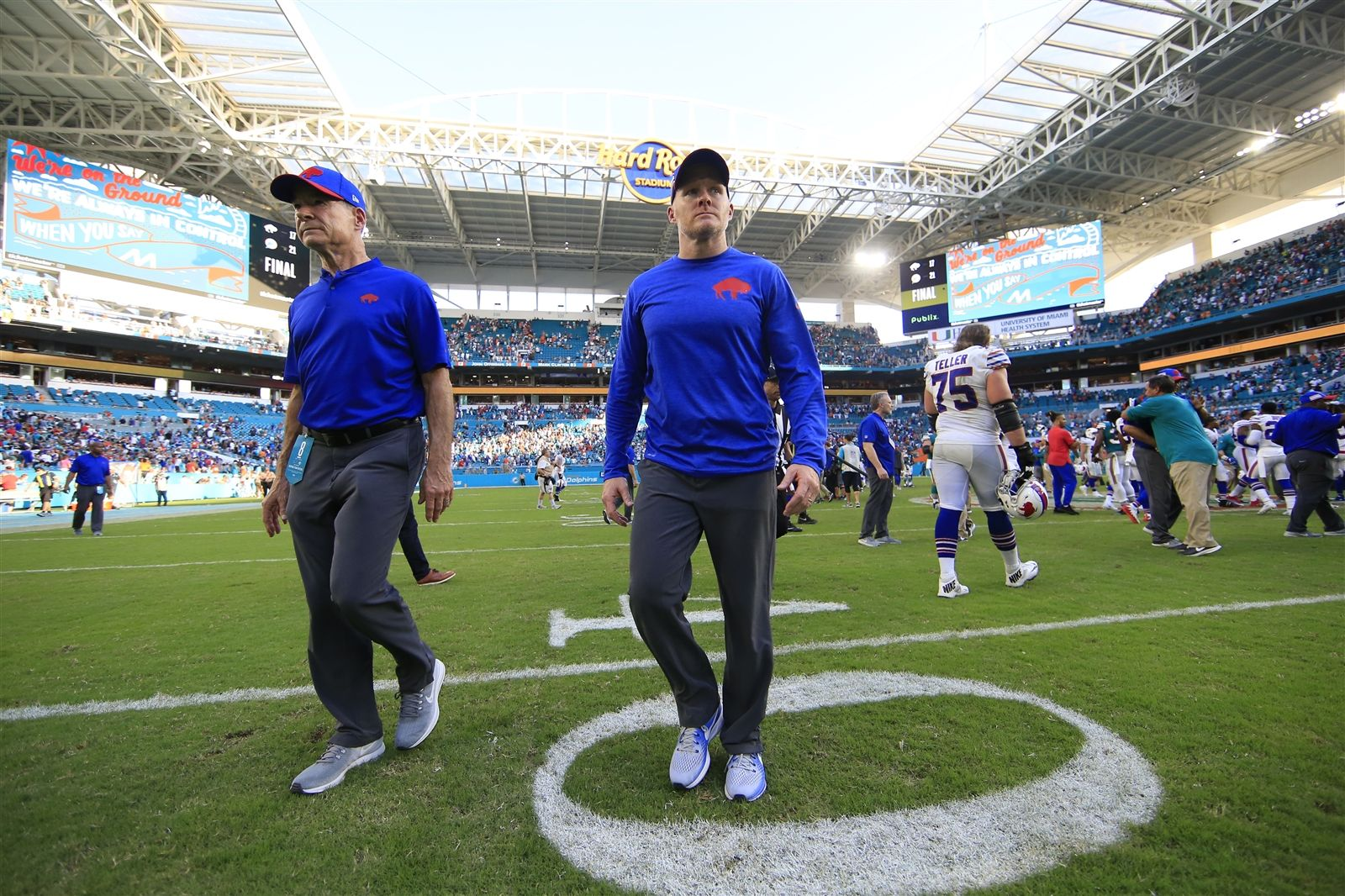 Bills coach Sean McDermott walks off the field after loosing to the Dolphins at Hard Rock Stadium.