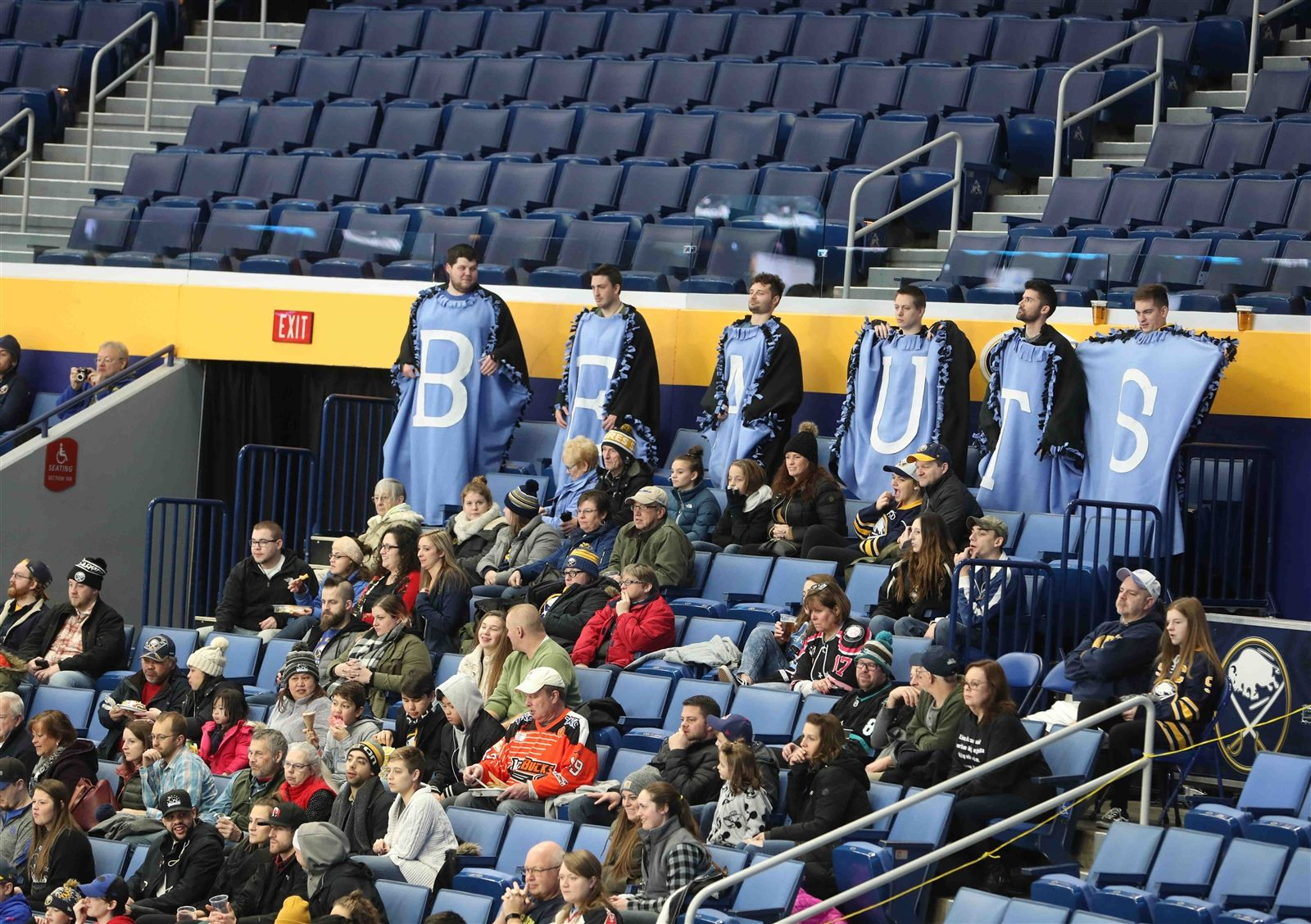 Buffalo Beauts fans cheer in the stands as the team takes on the Minnesota Whitecaps on Saturday, Dec. 29, 2018, at KeyBank Center.
