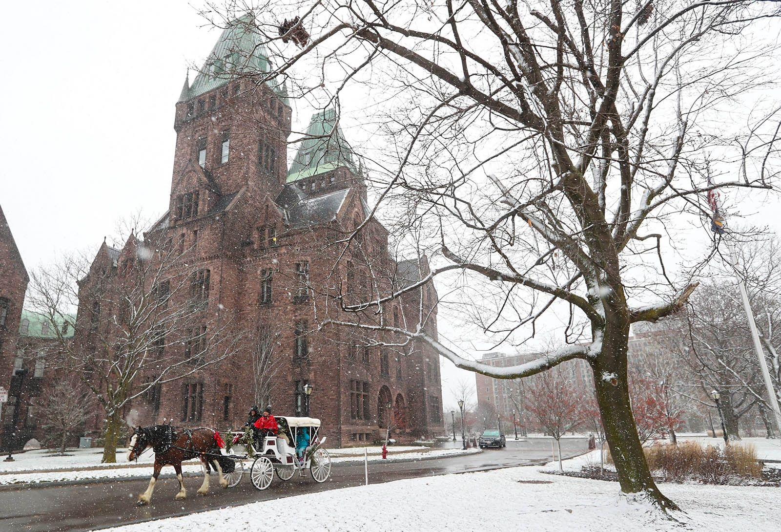 Day 364: Dec. 30, 2018 - A horse-drawn carriage from Banner Farm in Perrysburg takes guests on rides at Hotel Henry on the Richardson Olmsted Campus.