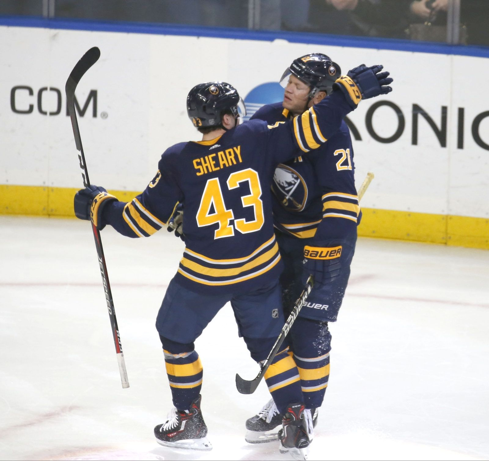 Buffalo's Conor Sheary (43) celebrates the only goal of the night by Kyle Okposo (21).