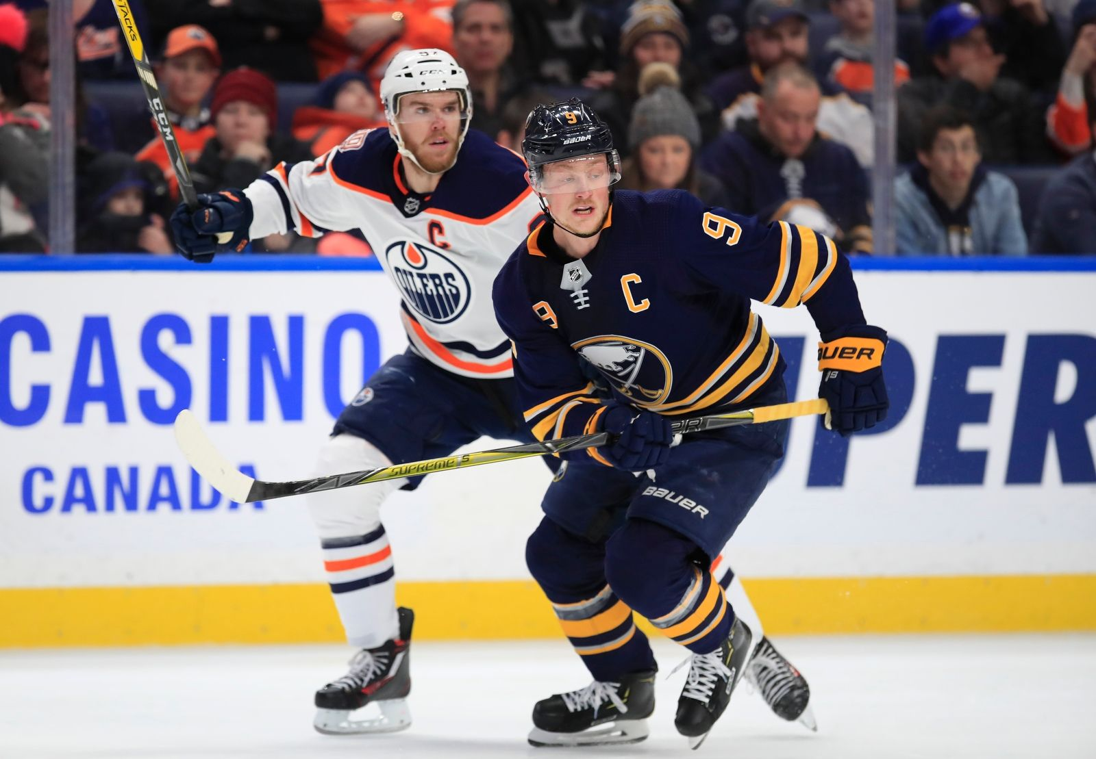 Sabres' Jack Eichel and Oilers' Connor McDavid during the first period.