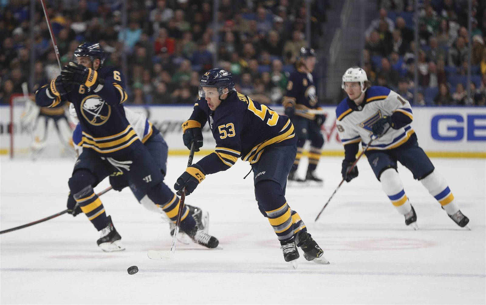 The Buffalo Sabres' Jeff Skinner attacks the zone in the first period of a game against the St. Louis Blues in the KeyBank Center on Sunday, March 17, 2019.