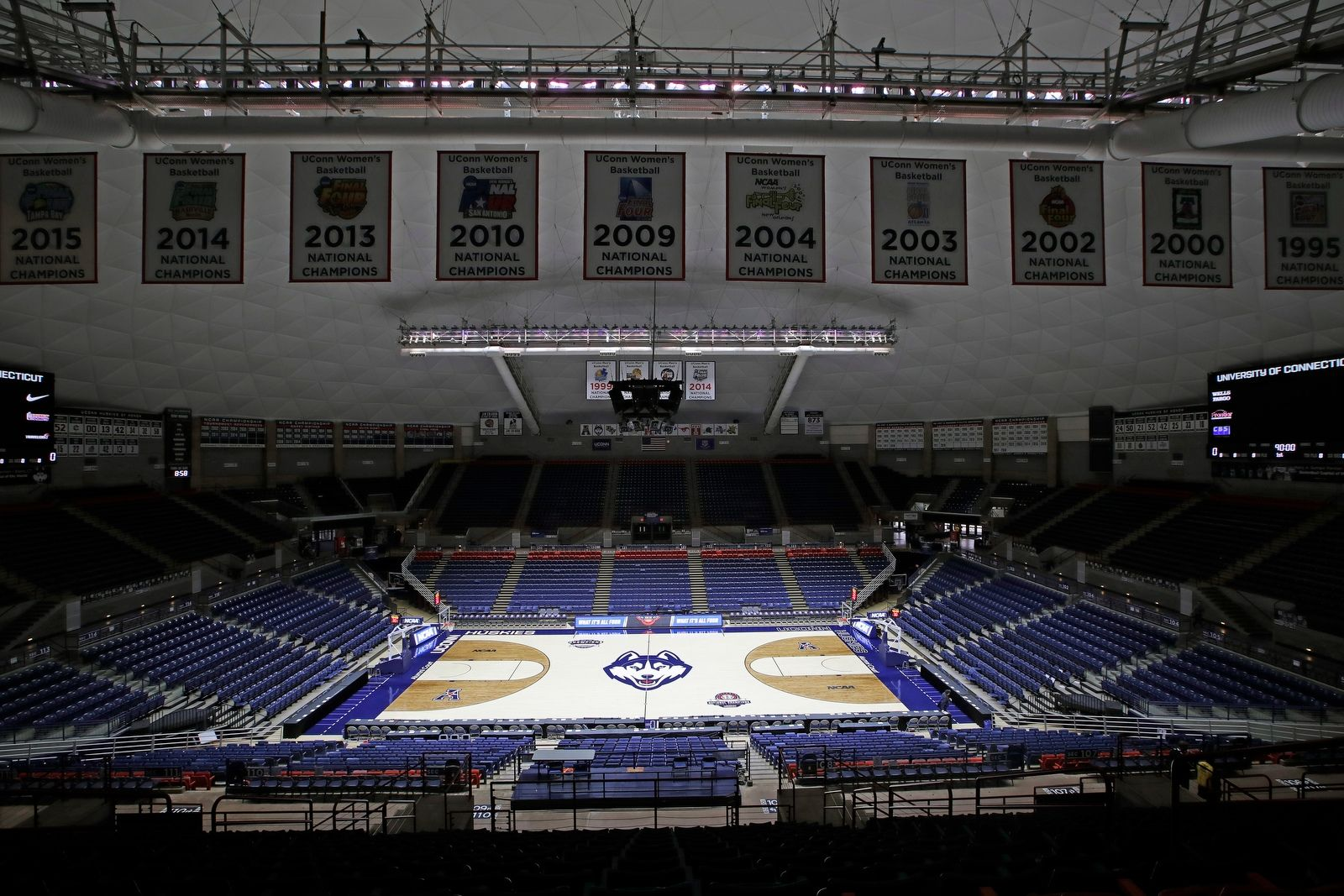 An overview of the the Harry A. Gampel Pavilion on March 21, where  the University at Buffalo will play in the first round of the NCAA college basketball tournament.