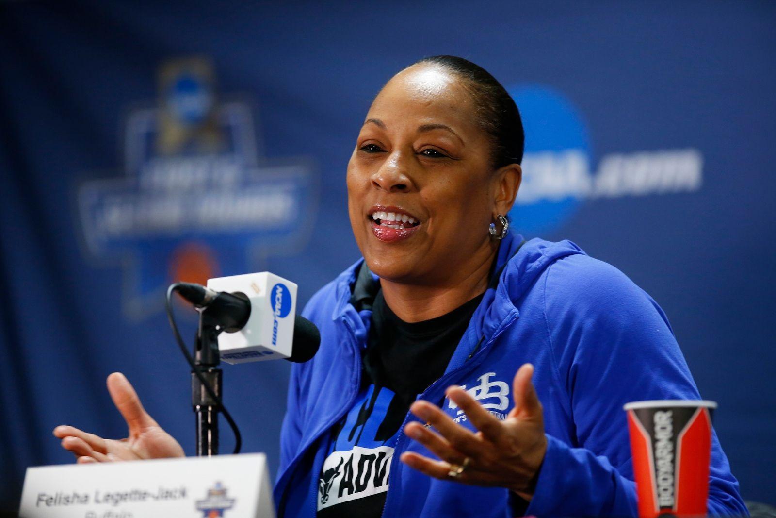 Buffalo coach Felisha Legette-Jack speaks to the media.