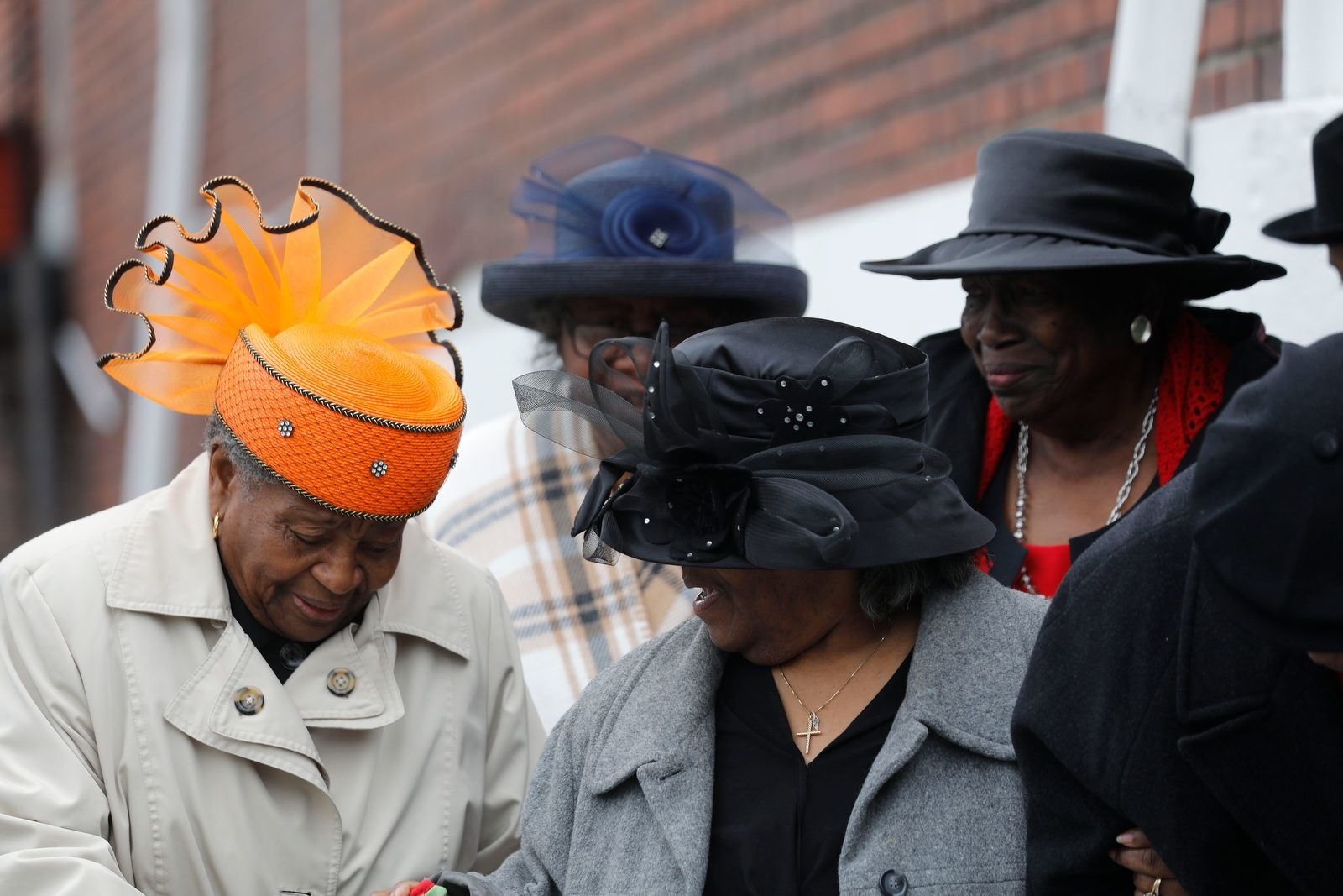 Women in glamorous Easter hats leave New Mount Ararat Temple of Prayer following Easter worship on Sunday, April 21, 2019. From left are Ettie Smith, Mary Phillips, Katherine Barnes and Helen Westmoreland.
