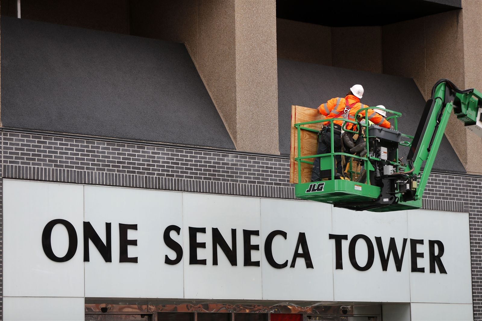 Crews continue the renovation at One Seneca Tower in Buffalo on May 14.