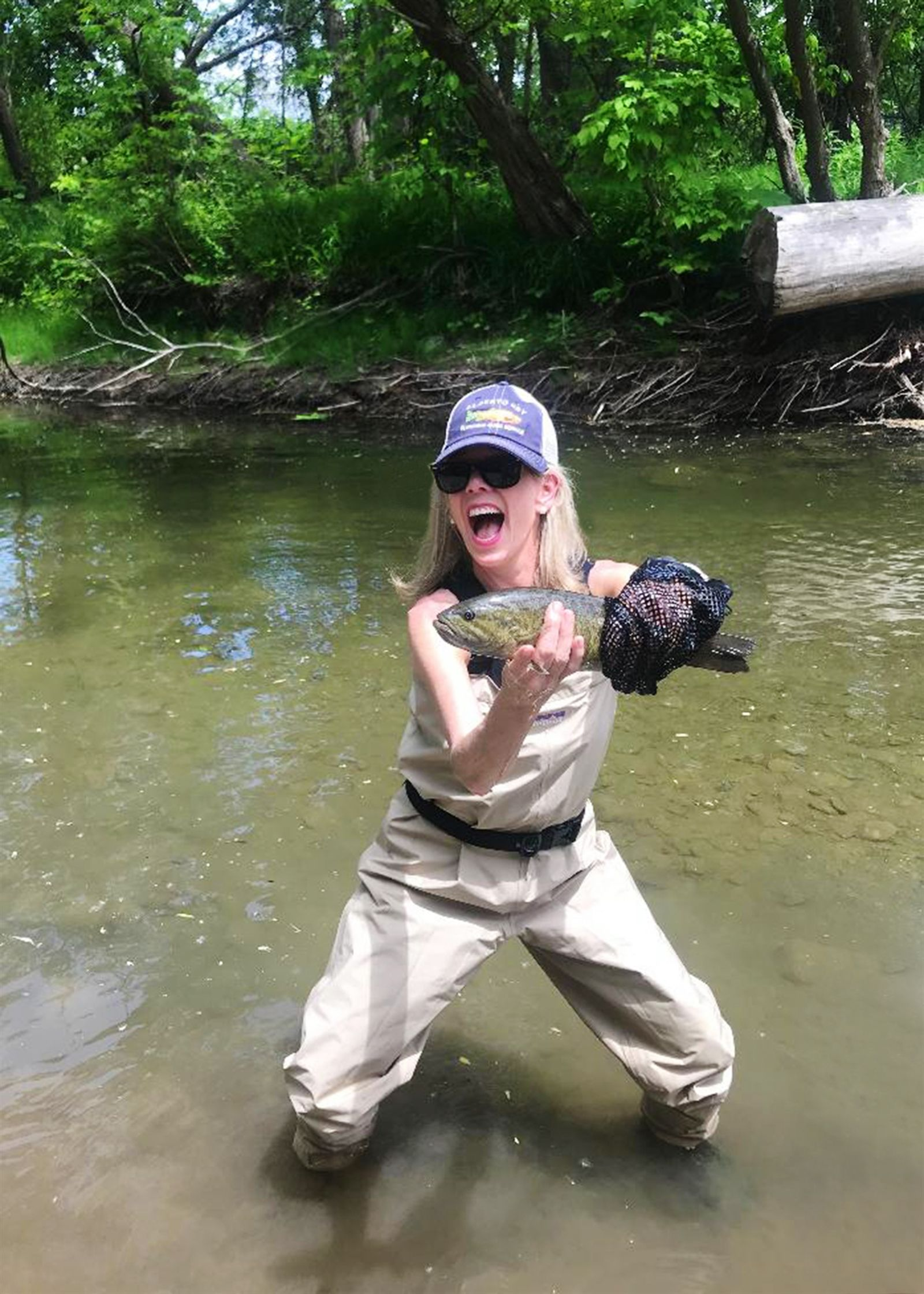 Missy Cleary on June 9 at Candaway Creek. Caught with grandfather's bamboo fly rod from somewhere between the 1930s and 1960s.