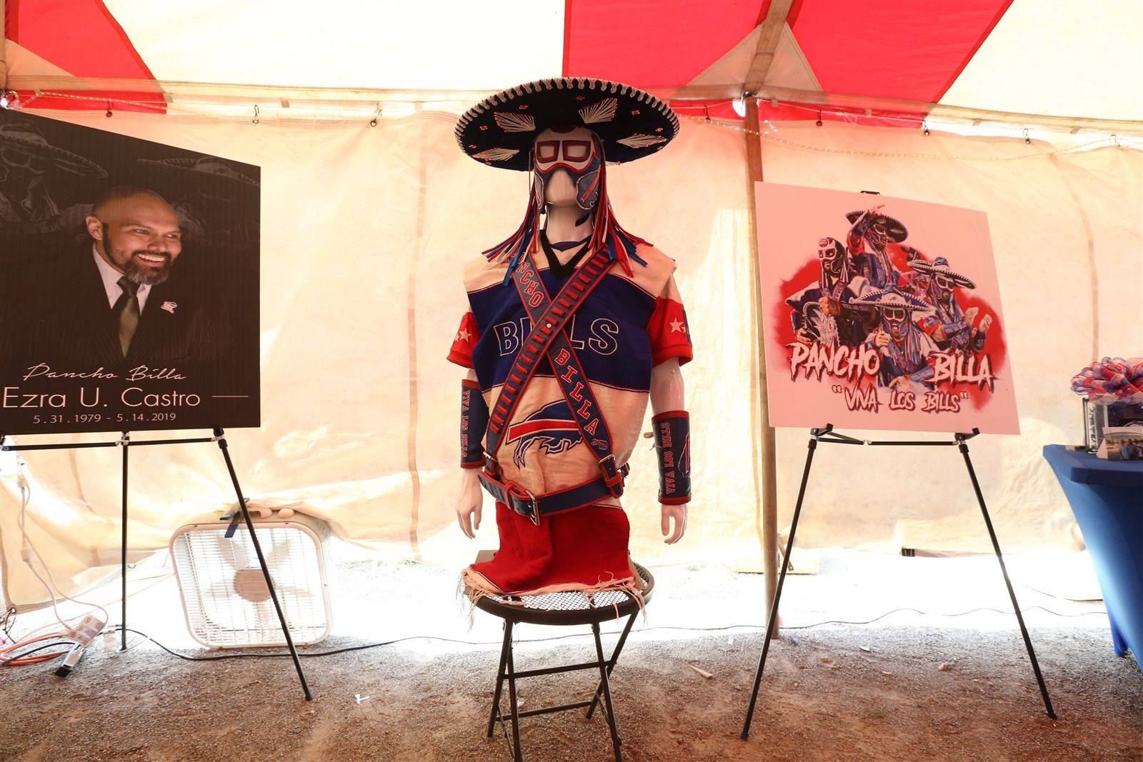 A memorial for Ezra Castro (Pancho Billa) was set up for the public at the Hammer lot at New Era Field in Orchard Park on Saturday, Sept. 21, 2019.