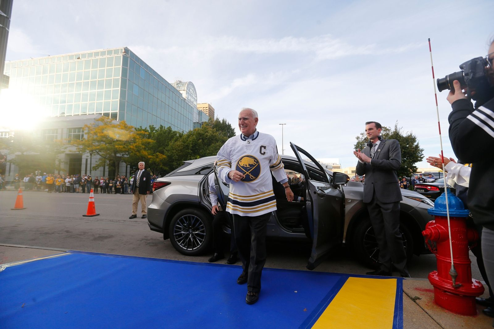 Buffalo Sabres Alumni Captain Floyd Smith arrives on the Blue and Gold carpet for the season home opener at KeyBank Center in Buffalo Saturday, Oct. 5, 2019.