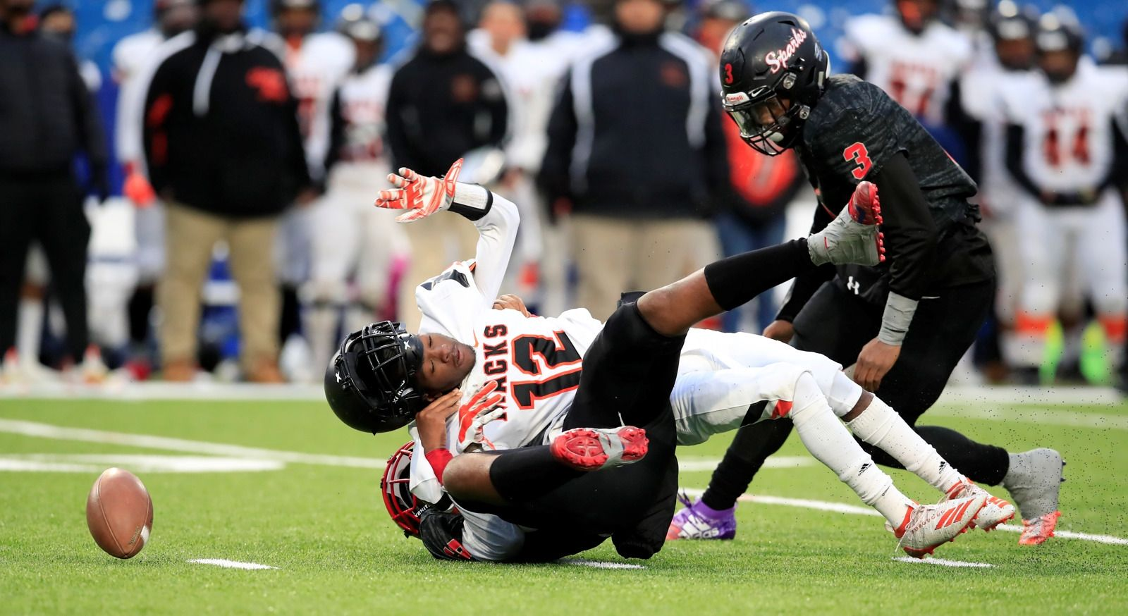 South Park defender Jaysean Armstead sacks McKinley quarterback Javon Whitfield and South Park's Keith Jackson recovers the fumble for a touchdown during the Section VI Football Class A Final at New Era Field on Saturday, Nov. 9, 2019.