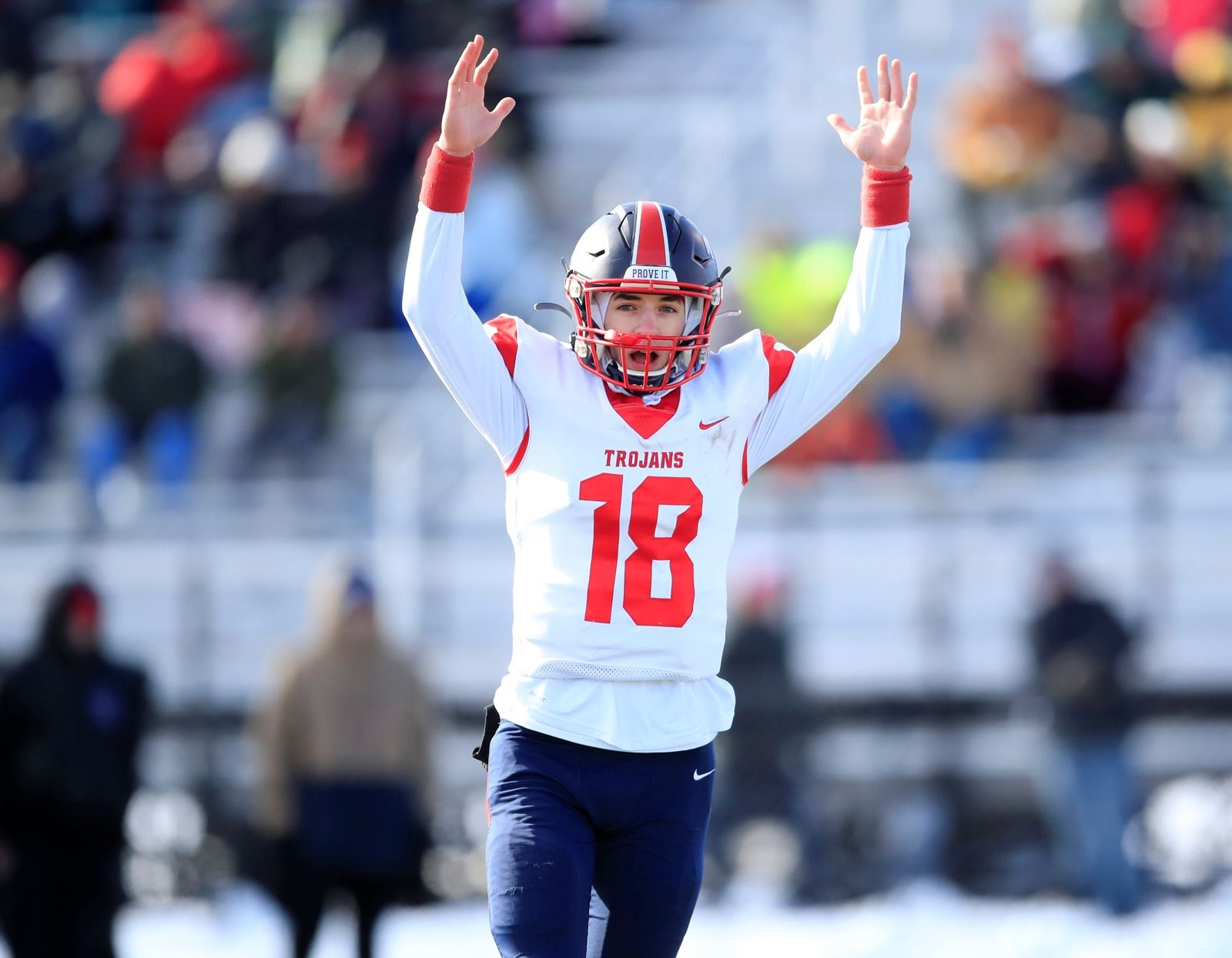 Southwestern quarterback Aidan Kennedy celebrates a Zishaun Munir touchdown against Warsaw/Letchworth during the first half of the New York State Class C Far West Regional High School football game at the State University College at Brockport on Saturday, Nov. 16, 2019.