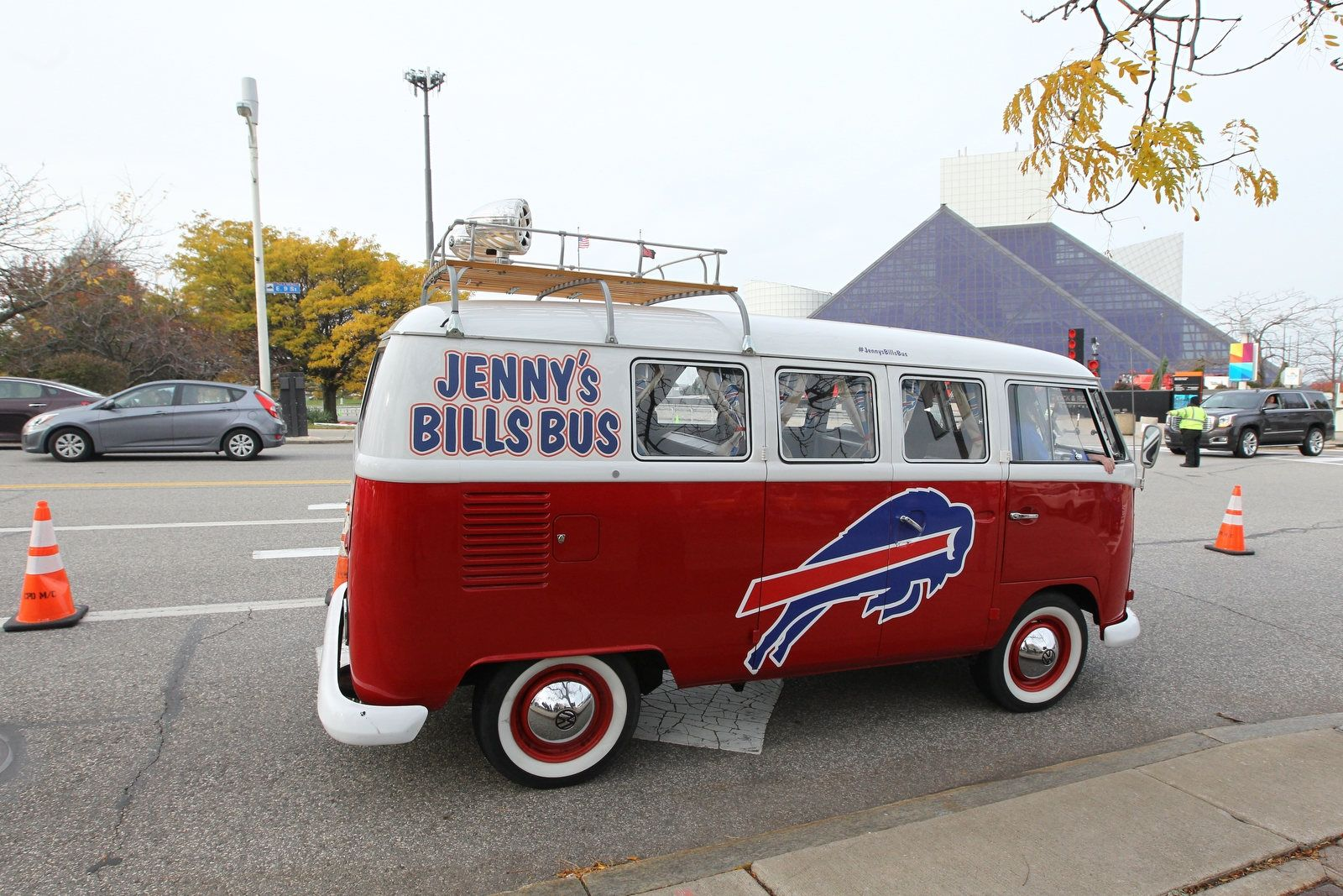 Buffalo Bills fans party before the game in the municipal lot across the street from FirstEnergy Stadium in Cleveland on Sunday, Nov. 10, 2019.