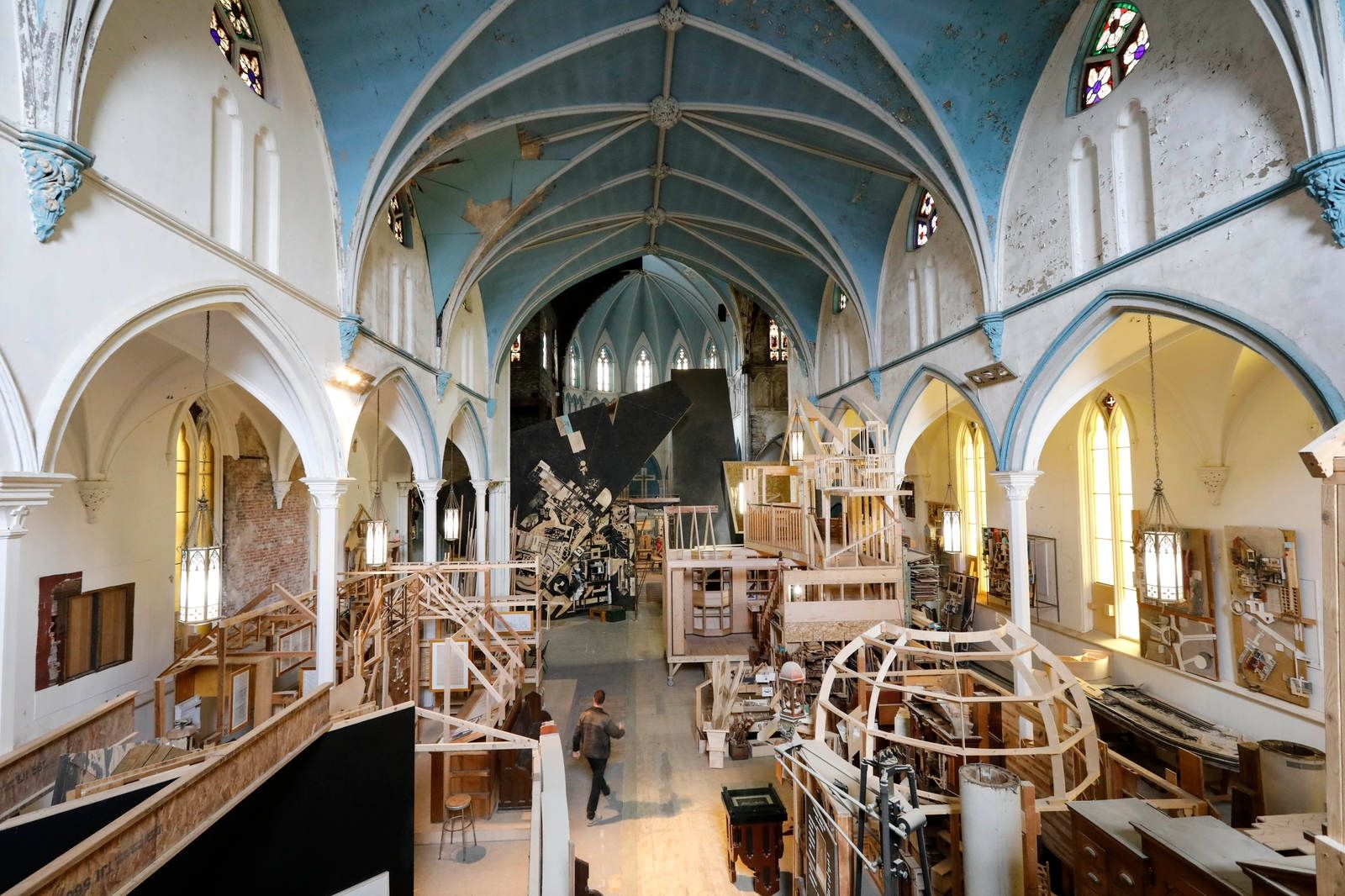 Assembly House 150, a church built in 1870, has been reimagined by architect Dennis Maher as an art gallery, wood shop, architecture studio and home of the Society for the Advancement of Construction Related Arts, or SACRA, which runs education programs to teach the building trades.