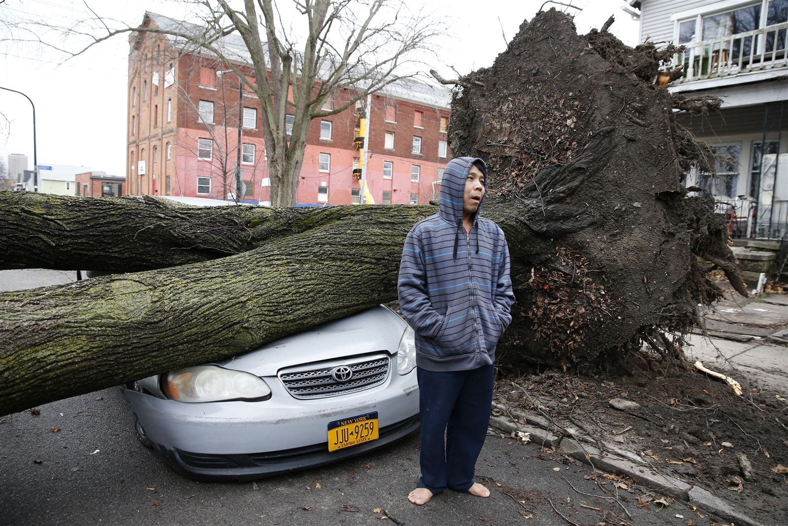 Toe Ley awoke on Sunday, Jan. 12, 2020, to see his car totaled into a pancake under the weight of a tree on 7th Street in Buffalo.